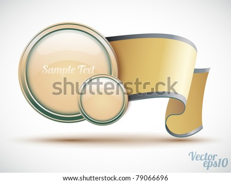 Glossy circle with banner (bookmarks icon) - stock vector