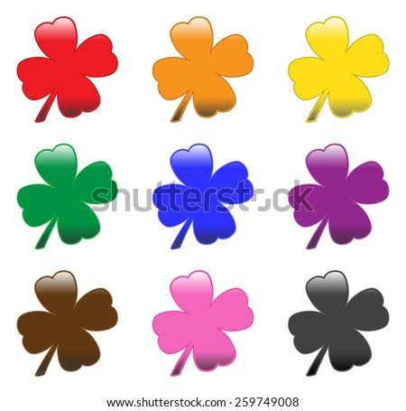 Glossy Clovers  - stock vector