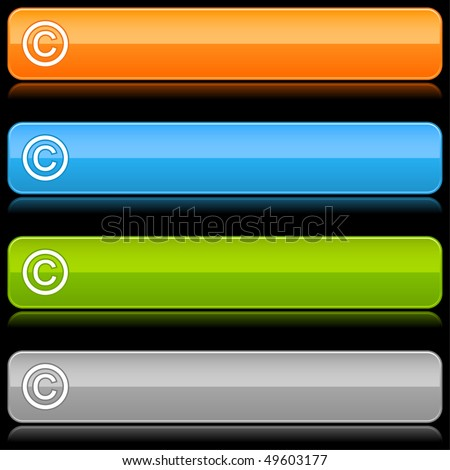 Glossy color rounded buttons with copyright symbol on black - stock vector