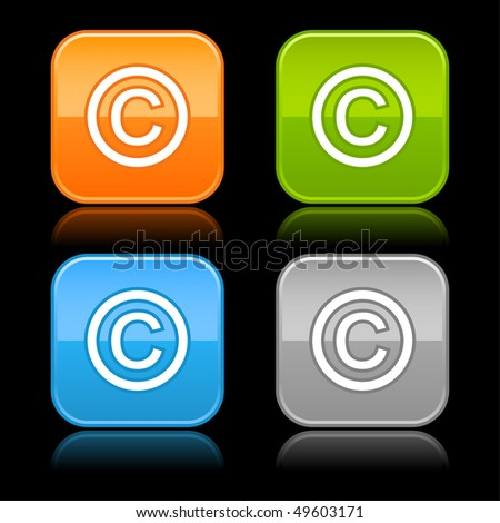 Glossy color rounded squares buttons with copyright symbol on black - stock vector