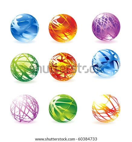 Glossy color spheres. Vector.