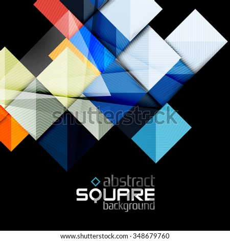 Glossy color squares on black. Geometric abstract background for your message. Vector - stock vector