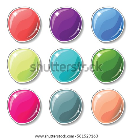 Glossy colored buttons with drop shadow effect. Blank vector buttons set for web design or game graphic. Colorful marbles on white background. Empty bubbles for text or word. Board pins isolated