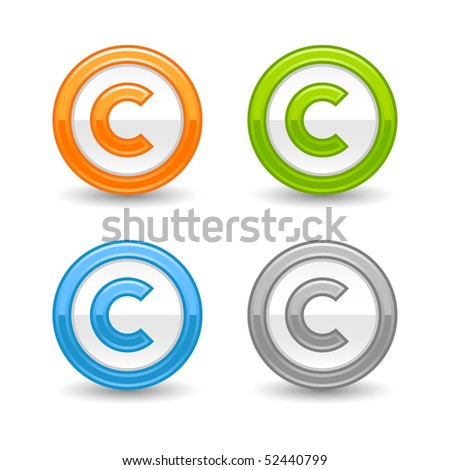 Glossy colored round web buttons with copyright symbol and shadow on white - stock vector