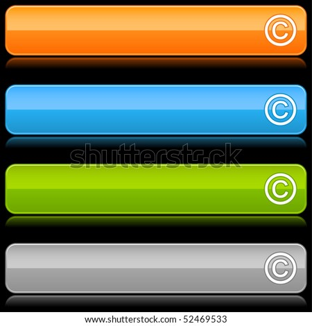 Glossy colored rounded buttons with copyright symbol and reflection on black - stock vector
