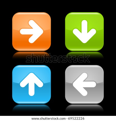 Glossy colored rounded square buttons with arrow sign with reflection on black background - stock vector