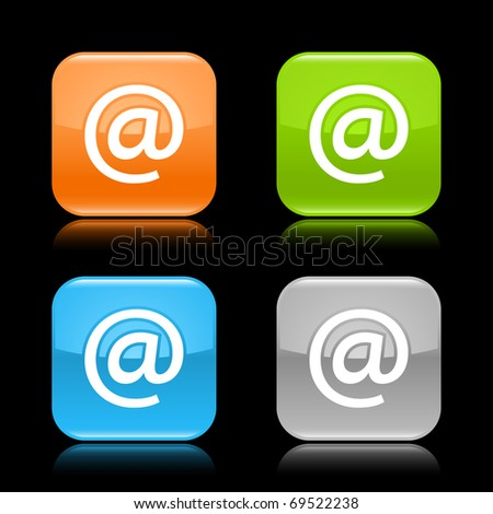 Glossy colored rounded square buttons with at sign with reflection on black background - stock vector