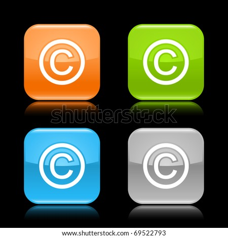 Glossy colored rounded square buttons with copyright sign with reflection on black background - stock vector