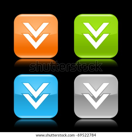 Glossy colored rounded square buttons with download sign with reflection on black background - stock vector