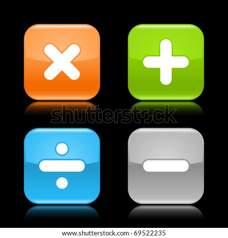 Glossy colored rounded square buttons with mathematical sign with reflection on black background - stock vector