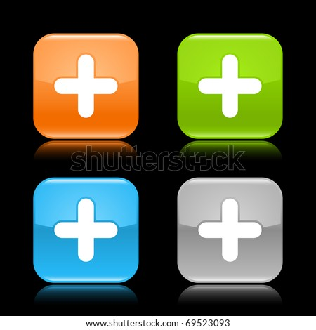 Glossy colored rounded square buttons with plus sign with reflection on black background - stock vector