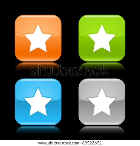 Glossy colored rounded square buttons with star sign with reflection on black background - stock vector