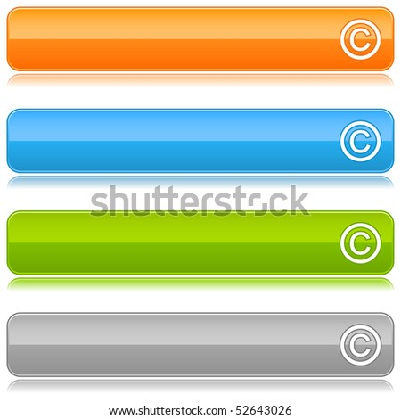 Glossy colored web buttons with copyright sign on white - stock vector