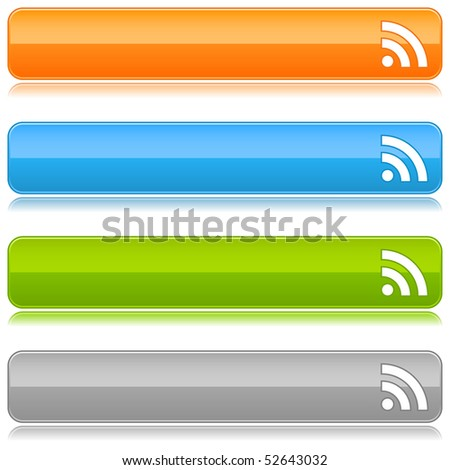 Glossy colored web buttons with RSS sign on a white - stock vector