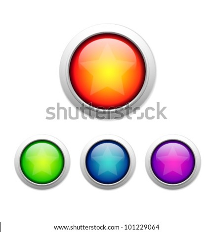 Glossy colorful abstract button - stock vector