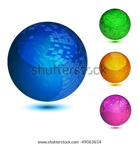 Glossy colorful abstract globes with different mosaic patterns. EPS10 file.