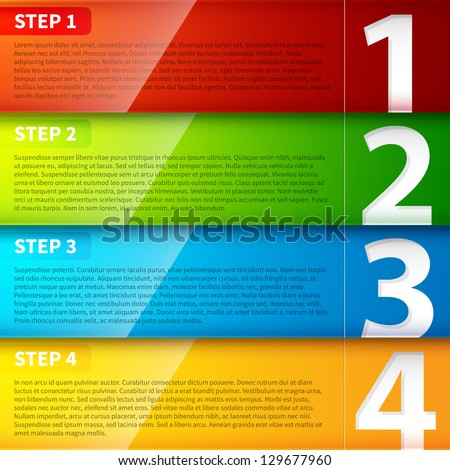 Glossy colorful banners with numbers from 1 to 4. - stock vector