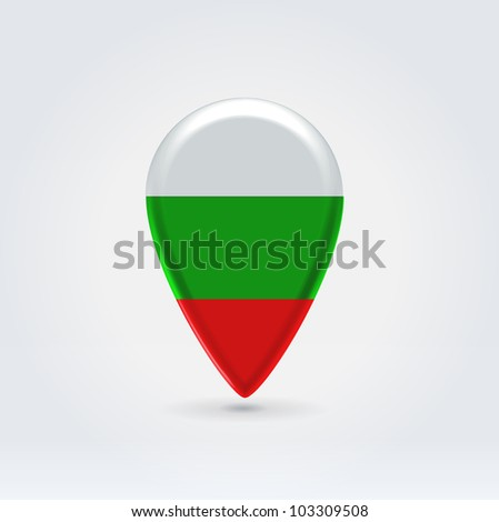 Glossy colorful Bulgaria map application point label symbol hanging over enlightened background - stock vector