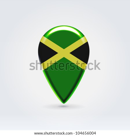 Glossy colorful Jamaica map application point label symbol hanging over enlightened background - stock vector