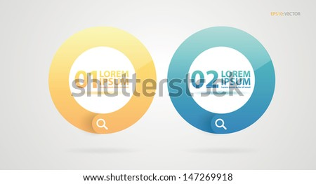 Glossy colorful modern search icons design. - stock vector