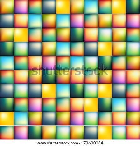 Glossy colorful mosaic square cells grid, abstract vector background illustration - stock vector
