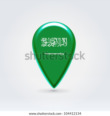 Glossy colorful Saudi Arabia map application point label symbol hanging over enlightened background - stock vector