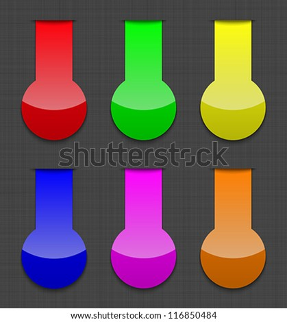 Glossy colorful web elements on linen background. Vector illustration