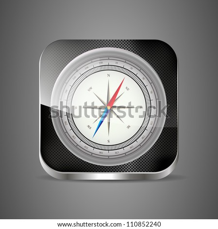 Glossy Compass app icon with windrose. Vector Illustration. EPS10 - stock vector