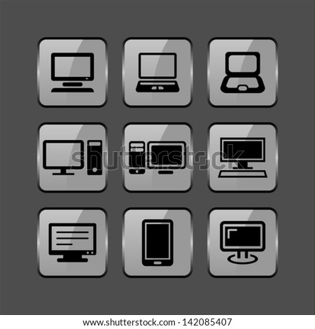 Glossy Computer Icons as a computer or symbolizing any technology concept