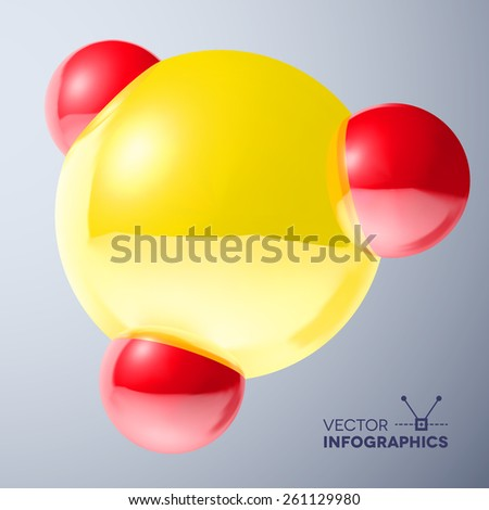 Glossy connected 3D red and yellow balls molecule sign with reflections - stock vector