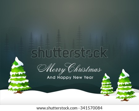 Glossy creative Xmas Trees on night background for Merry Christmas and Happy New Year celebration. - stock vector