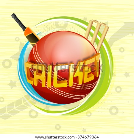 Glossy 3D text Cricket on red ball with bat and wicket stumps for Sports concept. - stock vector