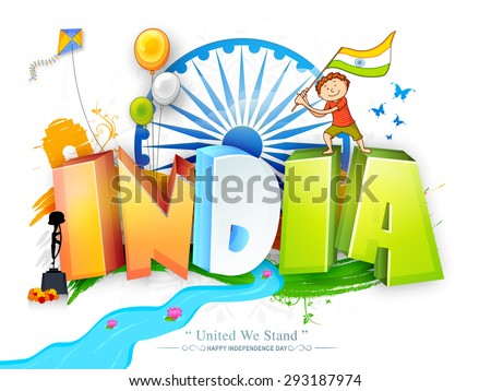Glossy 3D text India in national tricolor with cute boy holding flag, flying balloons and kite on Ashoka Wheel decorated background for Indian Independence Day celebration.   - stock vector