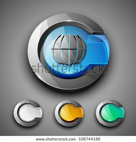 Glossy 3D web 2.0 internet browser symbol icon set. EPS 10. - stock vector