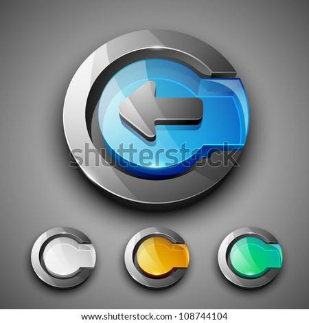 Glossy 3D web 2.0 left arrow symbol icon set.  EPS 10. - stock vector