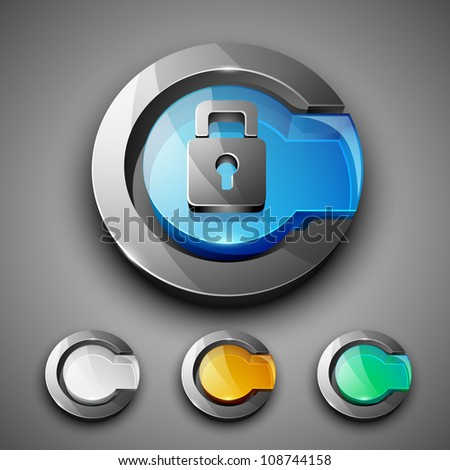 Glossy 3D web 2.0 lock, login or security symbol icon set. EPS 10. - stock vector
