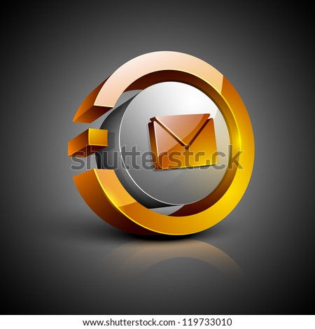 Glossy 3D web 2.0 message symbol icon set. EPS 10 - stock vector