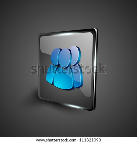Glossy 3D web 2.0 web users symbol icon set. EPS 10. - stock vector
