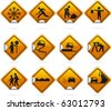 Glossy Diamond Road Stickers 12 glossy driving signs. The highlights are on one layer if a flat look is preferred. The signs have not been flattened and are broken up into  layers for easy editing. - stock vector