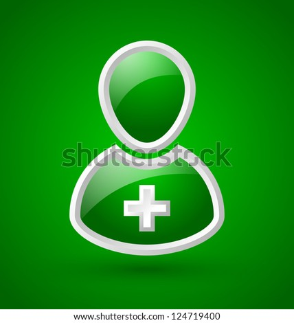 Glossy doctor or nurse icon with white cross isolated on green background - stock vector