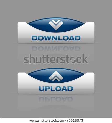 Glossy download and upload buttons useful for web design purposes