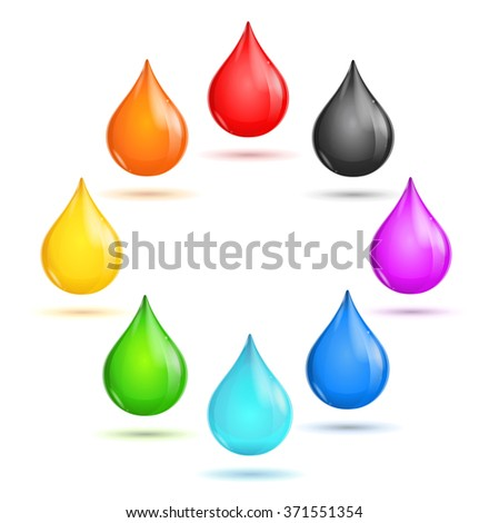 Glossy Drop Rainbow Set in The Circle. Vector illustration