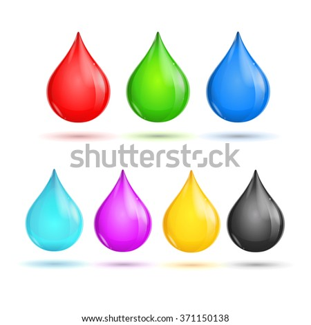 Glossy Drops CMYK and RGB. Vector illustration