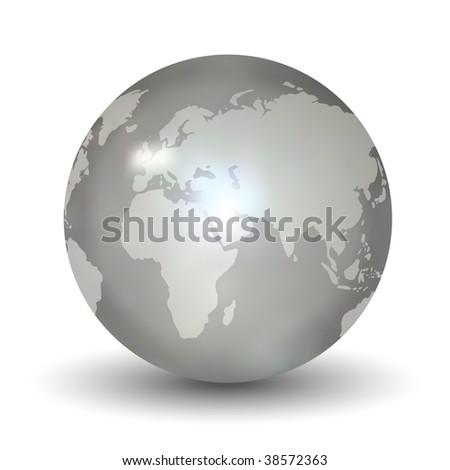 Glossy Earth Globe - stock vector