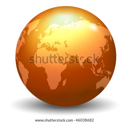 Glossy Earth Globe (Vector) - stock vector