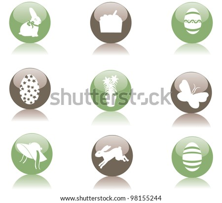 Glossy Easter Icon Symbol Set EPS 8 vector, grouped for easy editing. - stock vector