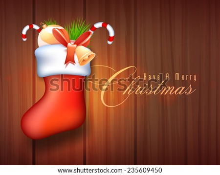 Glossy elegant Santa stocking full of X-mas ornaments for Merry Christmas celebration on wooden background. - stock vector