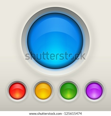 Glossy empty button in different colors. Interface vector elements collection - stock vector