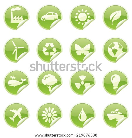 Glossy environmentally friendly sticky icons. - stock vector