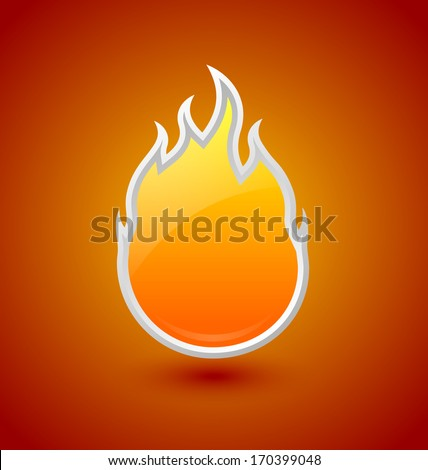 Glossy fire icon on orange red background - stock vector